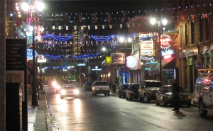 The Greektown commercial strip was glowing